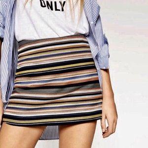 Zara Trafaluc Striped Skort High Rise Shorts
